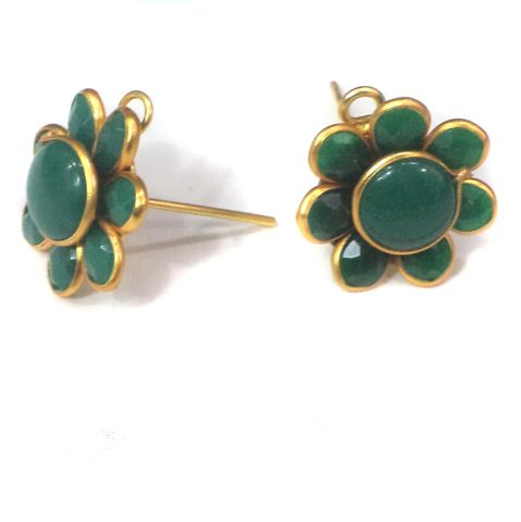 5 Pairs Pacchi Earring Green 14X14 mm