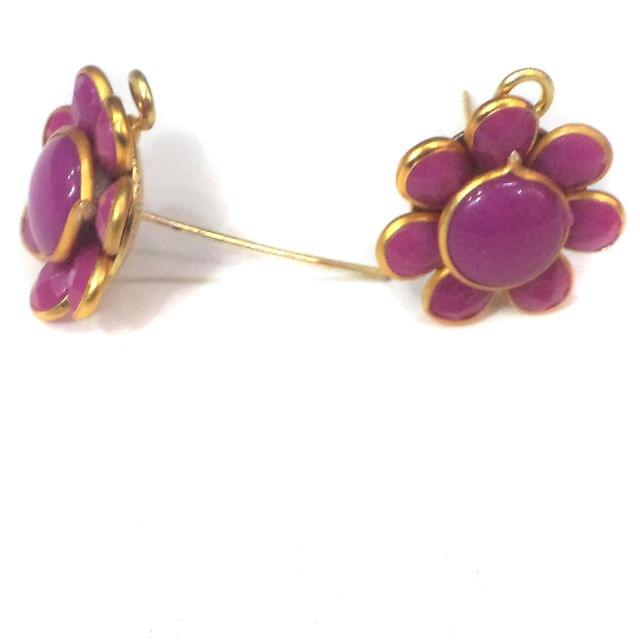 10 Pairs Pacchi Earrings Violet 14X14 mm