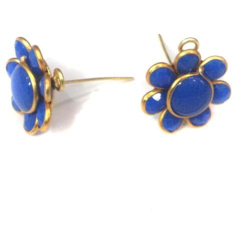 5 Pairs Single Layer Pacchi Earring Tops Blue, Size: 14X14mm