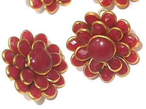 5 Pairs Double Layer PACCHI EARRINg Red 20X20 mm