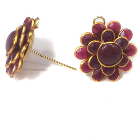 5 Pairs Double Layer PACCHI EARRING MAROON 20X20 mm