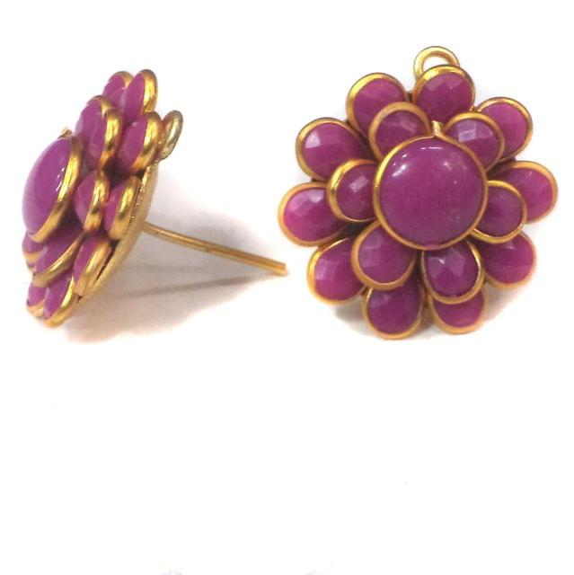 Double Layer PACCHI EARRING violet 20X20 mm
