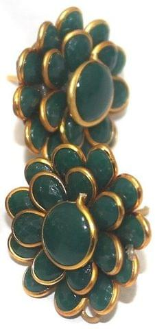 5 Pairs Double Layer Pacchi Earring Green, Size: 20X20mm