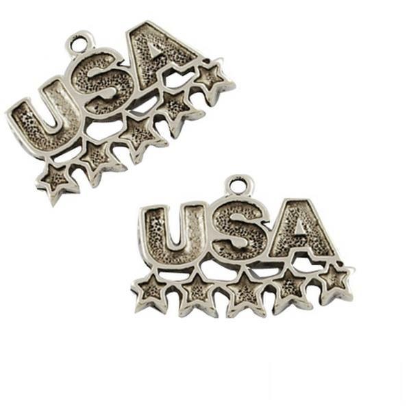 10 Antique Silver USA Charm Enamel Charm USA Pendant