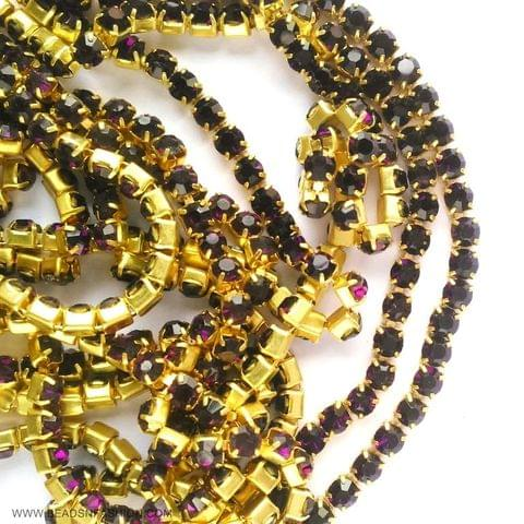 5 meter DARK PURPLE STONE CHAIN FOR SILK THREAD JEWELLERY DIYA RANGOLI GANESH DECOR 3 MM RHINESTONES CLOSELY SPACED
