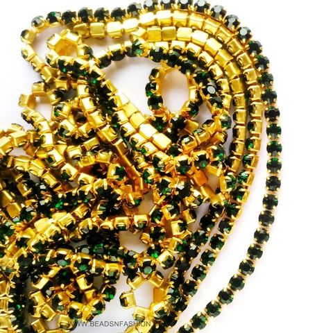 5 meter DARK GREEN STONE CHAIN FOR SILK THREAD JEWELLERY DIYA RANGOLI GANESH DECOR 3 MM RHINESTONES CLOSELY SPACED