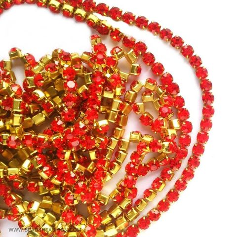 5 meter RED STONE CHAIN FOR SILK THREAD JEWELLERY DIYA RANGOLI GANESH DECOR 3 MM RHINESTONES CLOSELY SPACED