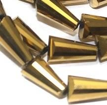 45+ Crystal Faceted Cone Metallic Beads Golden 10x5