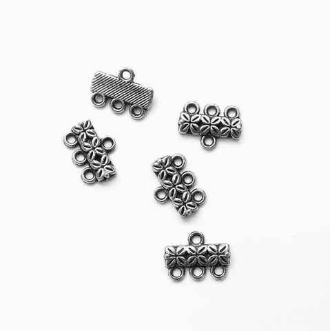 15 Antique Silver Oxidized 3 Row Connectors Flower Bar End with 3 Loops Findings