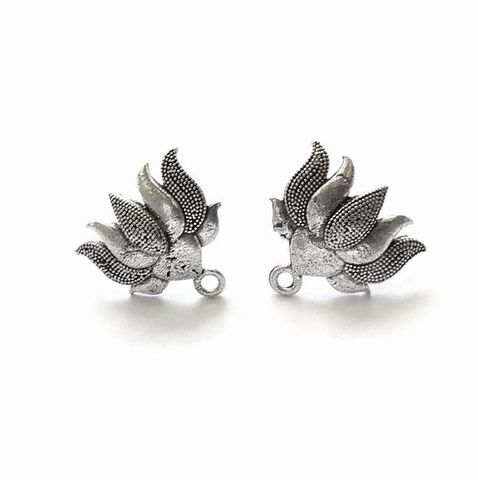 Oxidized Silver Lotus Stud Earring Findings