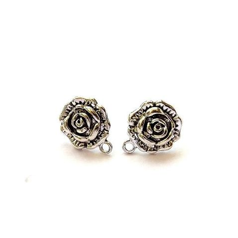 5 pairs Oxidized Silver Rose Stud Earring Findings Antique Silver rose earring stud