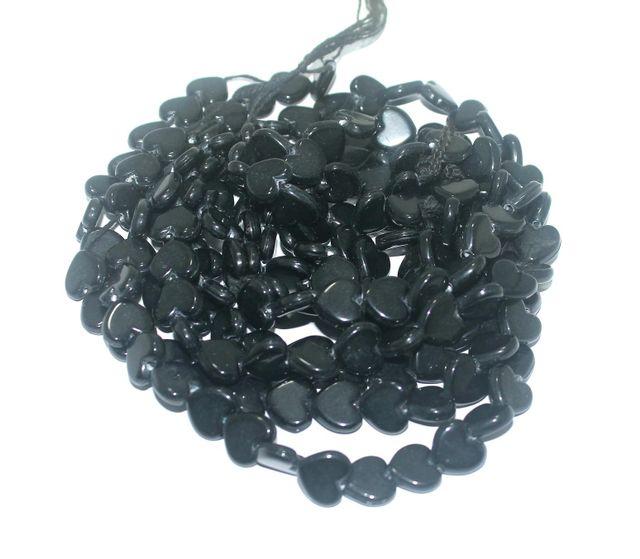 5 String Glass Heart Beads Black 14x12 mm