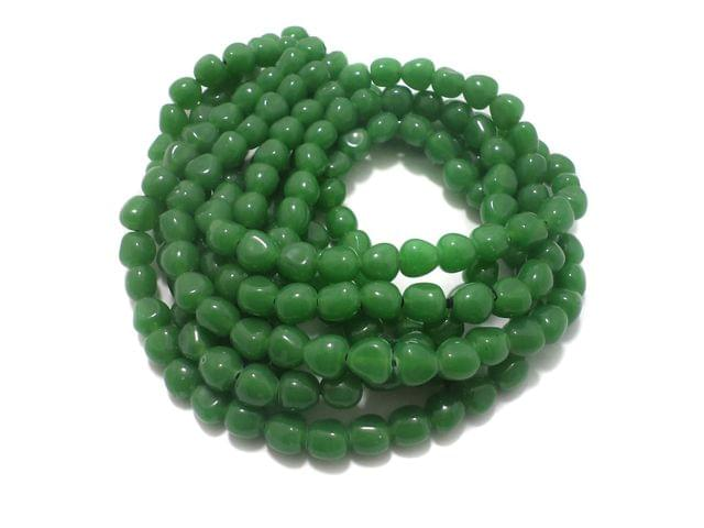 5 String Glass Tumbled Beads Green 10 mm