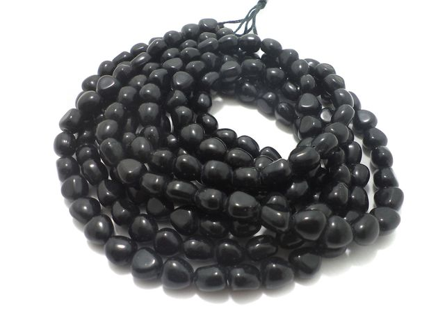 5 String Glass Tumbled Beads Black 10 mm
