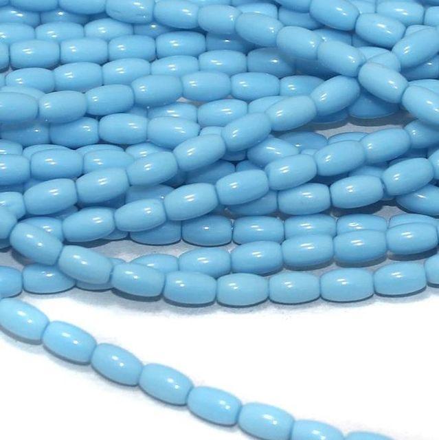 Sky Blue glass oval beads 7x4mm 12 Strings
