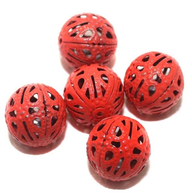 20 Metal Filigree Beads Round Red 14mm