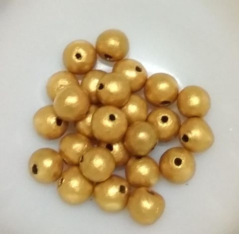 100 pcs Gold Terracotta 10mm round beads
