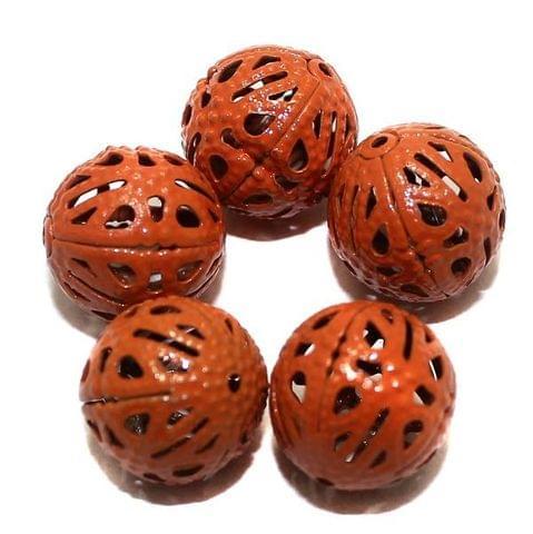 20 Metal Filigree Beads Round Orange 14mm
