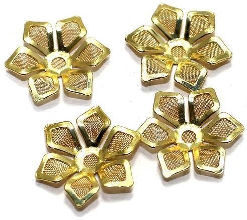 20 Metal Flower Beads 20x18