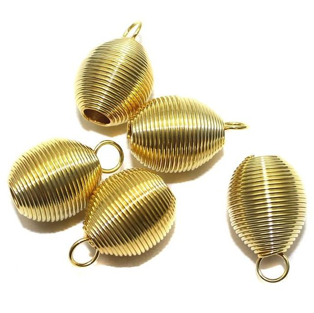 20 Metal Golden Spring beads 20x16mm