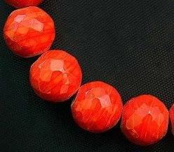 15+ Faceted Glass Round Beads Red 16mm
