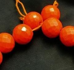 15+ Faceted Glass Round Beads Orange Opeque 16mm