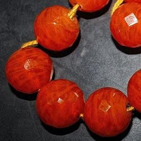 15+ Faceted Glass Round Beads Orange 16mm