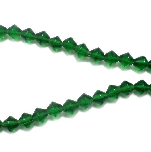 5 Strings Glass RONDELLE Beads Green 8mm