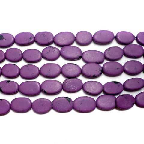 1 Strings Howlite Oval Beads Purple 10x6mm