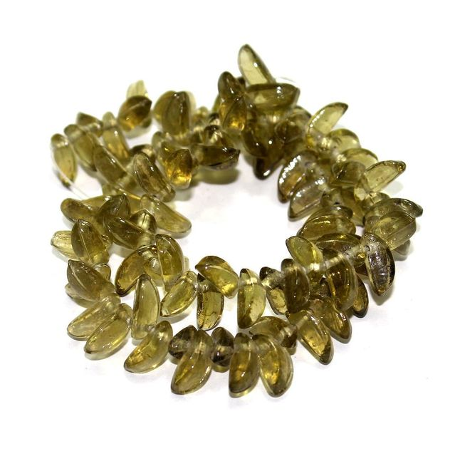 5 Strings Glass Leaf Beads Olive Green 12x6mm