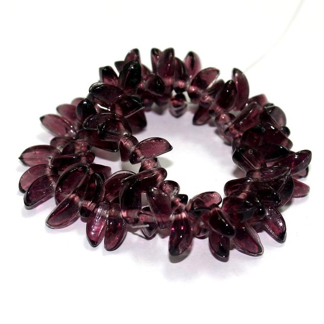 5 Strings Glass Leaf Beads Purple 12x6mm