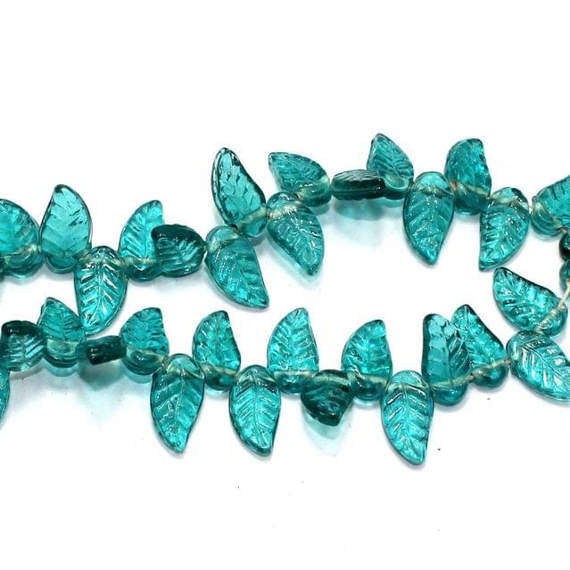 5 strings of Glass Leaf Beads Teal 16x8mm