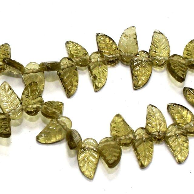 5 strings of Glass Leaf Beads Olive Green 16x8mm