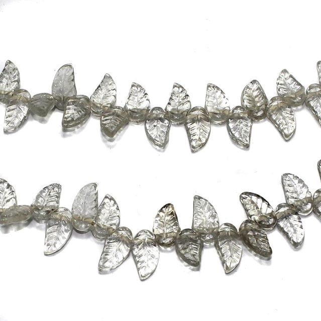 5 strings of Glass Leaf Beads Trans White 16x8mm