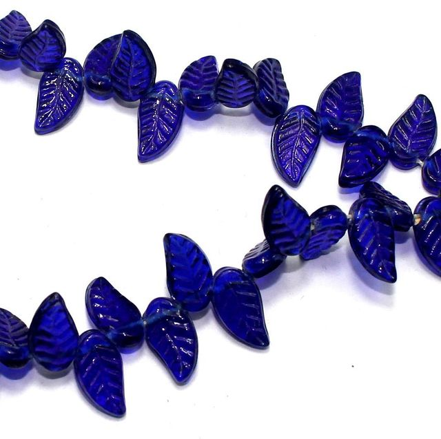 5 strings of Glass Leaf Beads Blue 16x8mm