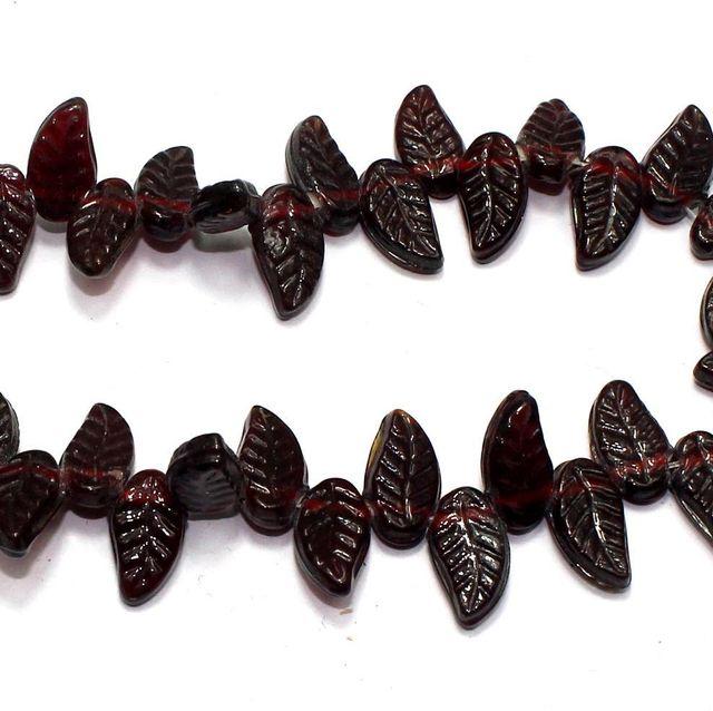 5 strings of Glass Leaf Beads Dark Red 16x8mm