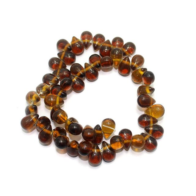 53+ Glass Drop Beads Brown 14x10mm
