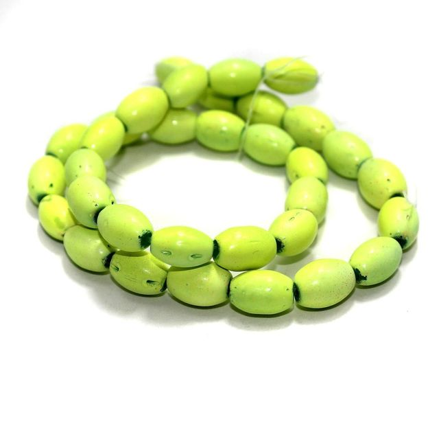 5 Strings Glass Oval Beads Green Yellow 12x8mm