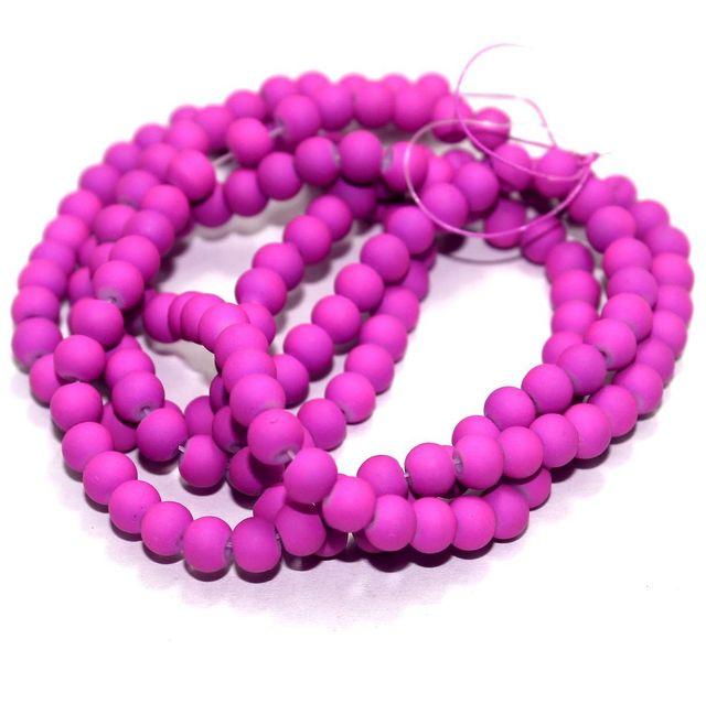 2 Strings Neon Glass Round Beads Purple 5mm