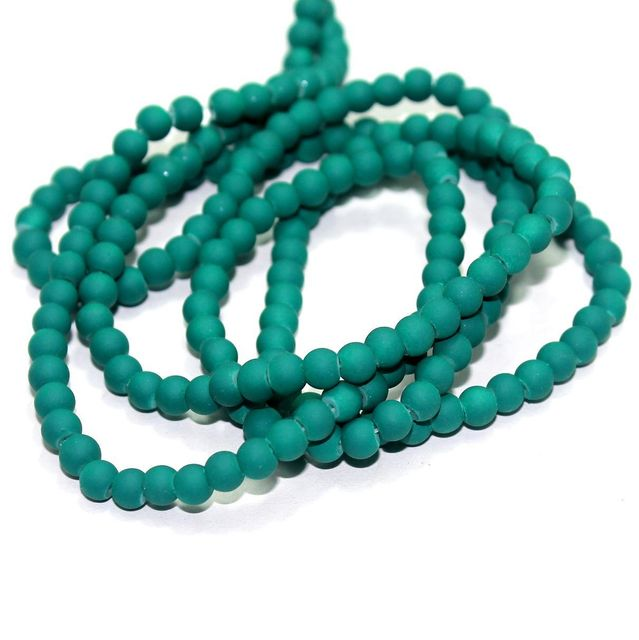 5 Strings Neon Glass Round Beads Teal 5mm
