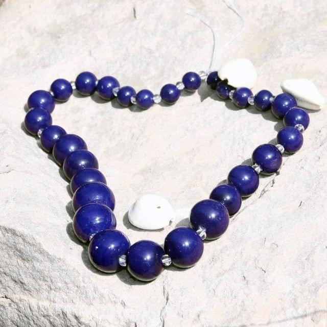 5 Strings Glass Round Beads Blue 8-15 mm