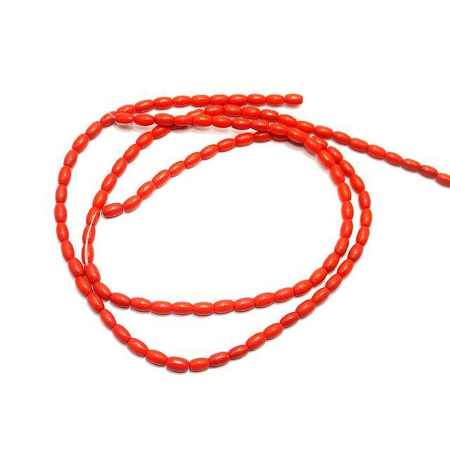 5 strings Glass Oval Beads Orange 6x4mm
