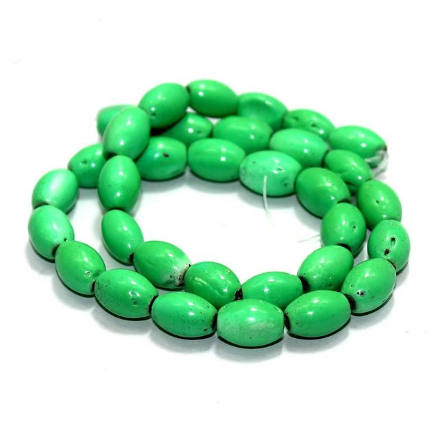 5 Strings Glass Oval Beads Spring Green 12x8mm