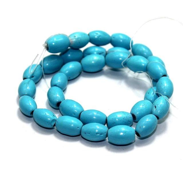 5 Strings Glass Oval Beads Turquoise 12x8mm