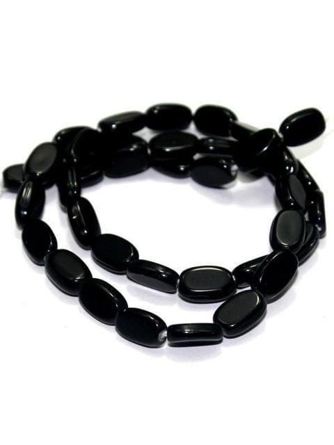 5 Strings Glass Flat Oval Beads Black 10x7mm