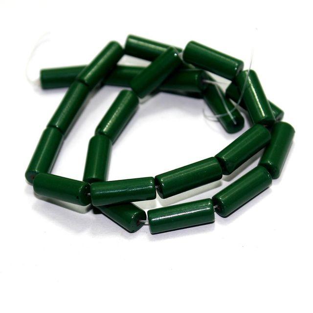 5 Strings Glass Tube Beads Green 16x6mm