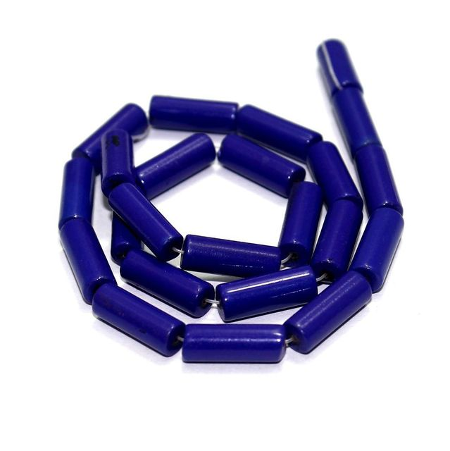 5 Strings Glass Tube Beads Blue 16x6mm