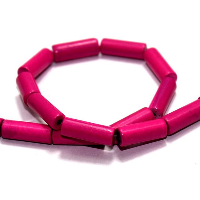 5 Strings Glass Tube Beads Magenta 16x6mm
