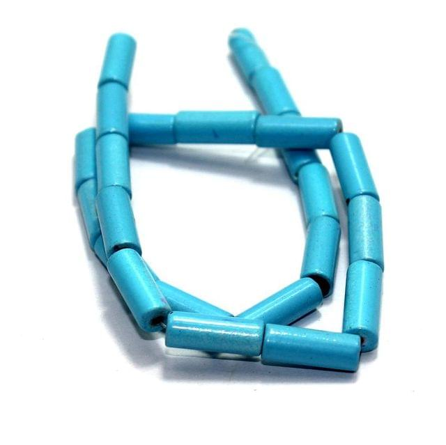 5 Strings Glass Tube Beads Turquoise 16x6mm