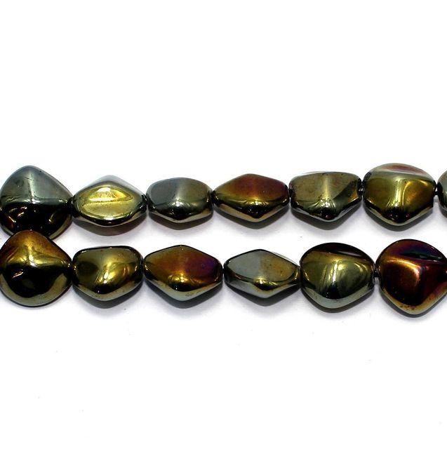 5 Strings Fire Polish Glass Tumble Beads Black Rainbow 16x10mm